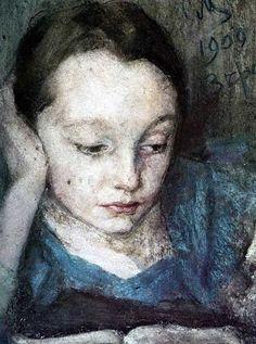 Blue - child -  Portrait of Vera Malyutina, 1909 - Sergei Malyutin