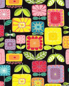 Garden Square - Floral Extravaganza - Black/Multi