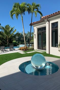 Aqualens in Paradise - Allison Armour Sphere Fountain Garden Fountains Outdoor, Outdoor Pool, Outdoor Spaces, Outdoor Living, Outdoor Decor, Modern Water Feature, Dream House Interior, Modern Garden Design, Water Features In The Garden