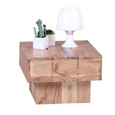 Wohnling Couchtisch Viereckig Massivholz Akazie Design Wohnzimmertisch 44 X Cm Quadrat 30 Beistelltisch Cube
