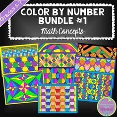 Color by Number Bundle - Math Concepts, grades 5-7