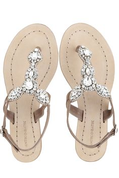 Sparkly flat sandals.