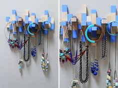 urn an Old Jenga Set into a Necklace Rack Brit   Co #paint #craft #diy