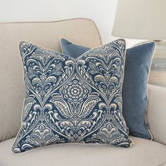 Floral ornament cushion cover, indigo navy blue color cover pillow, ornament print pillow, square, double-sided case pillow,Cotton ,45x45cm