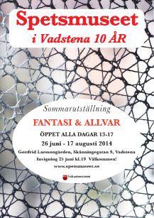 """Vadstena Spetsmuseum.  Sommarens utställning har fått namnet """"FANTASI och ALLVAR"""".  Sex spetskonstnärer visar knypplade bilder.  I salongen visas Brita Langvads tre stora knypplade tavlor. """"Våroffer"""", """"Vågspel"""" och """"Jazz"""".  I det historiska rummet handlar utställningen om Kristina Malmbergs nya bok """" Trådkonst-Knyppling under fyra decennier"""" med Ulla Fagerlin, Hildur Kratz, Naime Thorlin, Birgitta Hulterström och Ingrid Eggimann-Jonsson."""