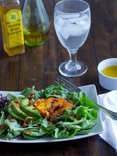 Grilled Peach Salad. Avocados and grilled peaches with a delicious honey wine vinegar. ohsweetbasil.com