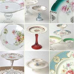 DIY cake stands made out of old plates, candlestick holders and glue.