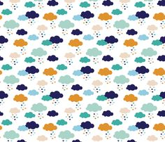 Colorful scandinavian style modern clouds and hearts for boys fabric by littlesmilemakers on Spoonflower - custom fabric