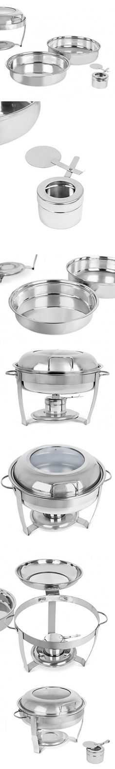 BirdRock Home Stainless Steel Chafing Dish with Glass Lid | 5 Quart | Round Buffet Chafer