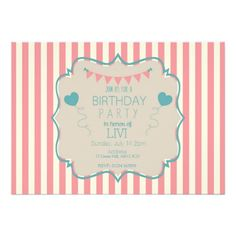 An adorable 'cute as a cupcake' vintage birthday invitation to set the mood of your party! On top of a pink and cream stripe background is a vintage design with adorable bunting and heart shaped balloons to set the scene for your lovely and special day.