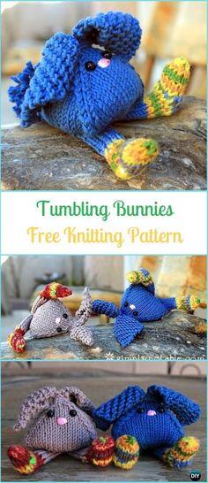 Amigurumi Tumbling Bunnies Free Knitting Pattern - Amigurumi Knit Bunny Toy Softies Free Patterns #Knitting