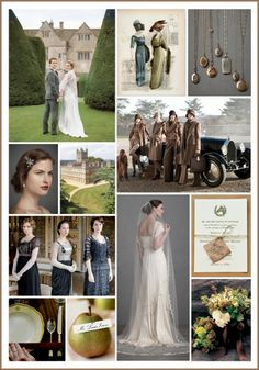 Wedding Color Palette: Olive, charcoal and tweed, inspired by Downton Abbey