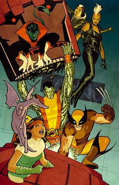 Uncanny X-Men training in front of the New Mutants