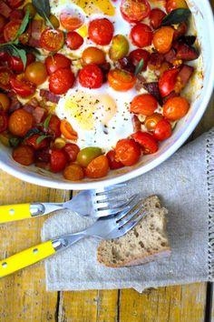 As Minhas Receitas: Ovos no Forno com Bacon e Tomate Cereja