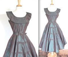 Vintage 1940's Dress // 40s 50s Iridescent by TrueValueVintage, $250.00