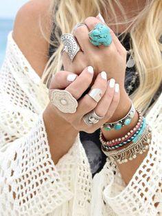 hippie schmuck boho chic sommermode ringe armketten armreifen türkis silber