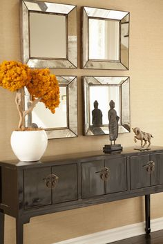 Beautiful entry table ideas to give some inspiration on updating your home or adding fresh and new furniture and decor, Hall table decor, Foyer table decor and Farmhouse sofa table. Hallway Decorating, Entryway Decor, Interior Decorating, Decorating Ideas, Hallway Table Decor, Entryway Stairs, Modern Entryway, Decor Ideas, Interior Desing