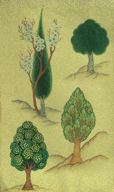 Cahide Keskiner - Minyatür Sanatında Doğa Çizim ve Boyama Teknikleri Değişik şekillerde ağaç boyamaları