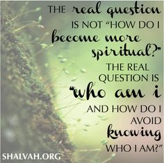 "The real question is not ""how do I become more spiritual?"" The real question is ""who am I and how do I avoid knowing who I am?""  shalvah.org"