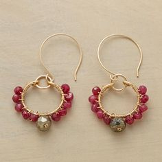 """ROSARIA EARRINGS--In this pair of ruby beaded hoop earrings, ruby rondelles encompass gleaming pyrite beads, the gems hand wired to free-swinging hoops. In 14kt goldfill with French wires. Exclusive. Made in USA. 1-5/8""""L."""