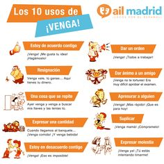 ¿Se te ocurre una palabras más española que #venga? ;) ¡Conoce sus 10 usos! --- Can you think of a more #Spanish word than 'venga'? ;) Learn its 10 uses!