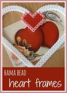 Hama bead heart frames