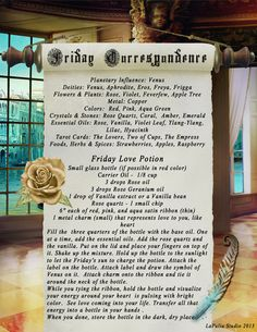 Friday Correspondence - Free Page for Your Book of Shadows Magick Spells, Wicca Witchcraft, Pagan Calendar, Witchcraft Supplies, Eclectic Witch, Witch Spell, Apple Tree, Book Of Shadows, Deities