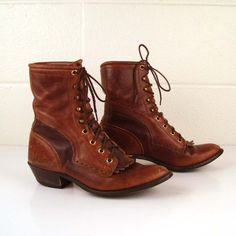 Vintage 1990s Roper Fringe Leather Oiled Brown Lace up Boots size 6 1/2 ($50-100) - Svpply