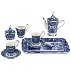 Set of 8 Deep Blue and White Toile Pattern Porcelain Tea Set