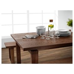 M Atilde Rbyl Atilde Nga Bench Oak Veneer Brown Stained Table Ikea Ikea Bench, Ikea Table, Dining Table, Style Brut, Floating Table, Stained Table, Ikea Us, Small Dining, My Living Room