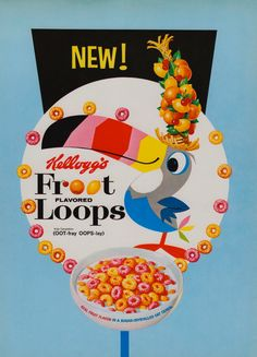 Heavy Stock Paper Vintage circa Kellogg's Froot Loops Cereal Ad Light Blue Background Very little wear, very subtle browning around edges x 8 Old Advertisements, Retro Advertising, Retro Ads, Vintage Ads, Vintage Posters, Vintage Food, Vintage Stuff, Vintage Signs, Retro Vintage
