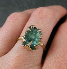 Raw Sea Green Tourmaline Gold Ring Rough Uncut by byAngeline