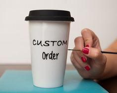 Items Similar To Custom Travel Mug Personalized Ceramic Coffee Quote Go Tumbler With Lid Gift On Etsy