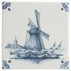 Dutch Delft Blue Tile, Windmill, Hand decorated - Made in Holland Delft Tiles, Blue Tiles, Antique Tiles, China Painting, Tile Art, Decoupage, Dutch, Sketches, Blue And White
