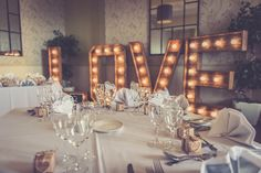 The Hire Supplier Illuminated 'LOVE' letters @ The Walton Park Hotel Park Hotel, Love Letters, Love S, Bristol, United Kingdom, Table Settings, Rustic, Lettering, Vintage
