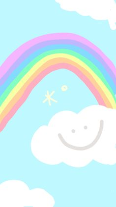 Rainbow and happy cloud