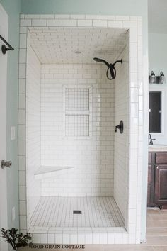 new paint in the master bathroom small tiled shower - White Subway Tile Shower