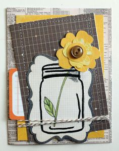 Flower in a Jar Card by katiebug92 @2peasinabucket