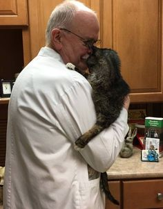 Click to see a senior kitty that gets adopted by two very caring people.