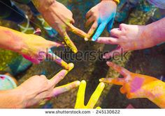 Friends putting their hands together in a sign of unity and teamwork. Holi Party, Holi Poster, Color Wars, Holi Colors, Interesting Blogs, Hands Together, Friends Image, David Hockney, Color Powder