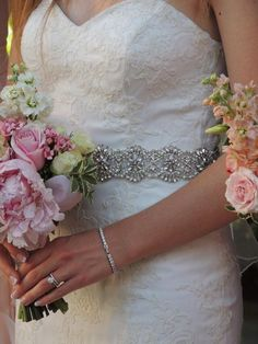 """Pearl And Crystal Wedding Dress Belt.Bridal Gown Sash. Rhinestones, Beads. Closes With Hook And Eye And Snaps. """"Melissa"""" #2232185 - Weddbook"""