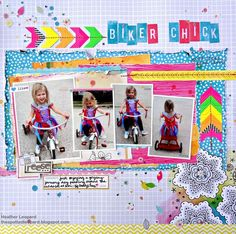 Project - Biker Chick  by Heather Leopard  I used my Scrapbook Circle April kit, Daydreamer, which was loaded with lots of Amy Tan and Heidi Swapp goodness.    This is loosely based on a sketch by Diana Fisher as part of her blogiversary blog hop.    Design details and a link to Scrapbook Circle are posted on my blog at http://thespottedleopard.blogspot.com/2012/04/little-biker-chick-dianas-anniversary.html [thespottedleopard.blogspot.com]
