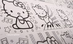Love the idea of Hello Kitty Coloring book pages all over a wall