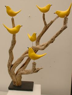 YELLOW BIRDS The bird cage is equally a property for the chickens and a pretty tool. You are able to select anything you want among the bird cage versions and get a great deal more special images. Wooden Art, Wooden Crafts, Clay Crafts, Home Crafts, Driftwood Sculpture, Bird Sculpture, Driftwood Art, Sculpture Ideas, Clay Birds