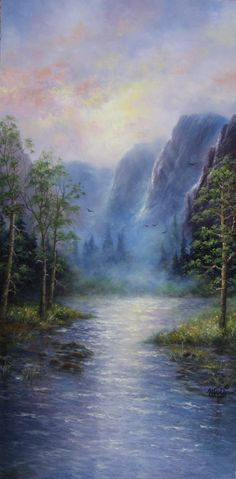 Mountains 18X36 XL Original Oil Painting Vickie Wade art, paintings, prints, mountains, lake, forest, landscape. $235.00, via Etsy.