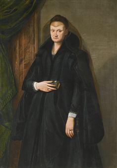 Follower of Santi di Tito, portrait of a widow, three quarter length, holding a book, circa 1590. Florentine