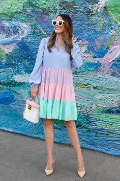 Style Charade Charlotte Dress Charlotte Dress, Preppy Sweater, Blazer With Jeans, Pastel Fashion, Eyelet Top, Colorblock Dress, Chic, Summer Collection, Her Style
