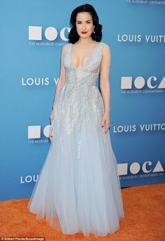 Old world glamour: Dita Von Teese was a sight for sore eyes in her elegant powder blue gown at the MOCA gala in LA on Saturday