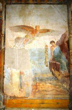 """Fresco """"The Death Of Icarus"""" -- Excavated from the 'Villa Imperiale' at Pompeii. La caduta di Icaro e il volo di Dedalo."""