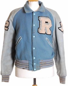 Womens baseball Jacket College Vintage NY Varsity Marle blue